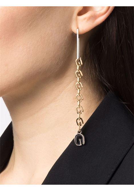 Orecchini asimmetrici a catena G Link in ottone color oro e argento GIVENCHY | Orecchini | BJ10NJF003711