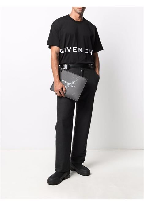 Black big calf leather graphic-print pouch bag  GIVENCHY |  | BK6093K18Y-LARGE ZIPPED001