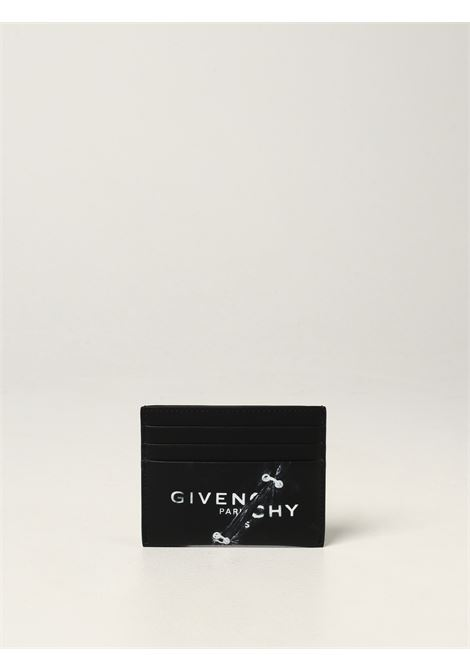 Black calf leather trompe l'oeil print card holder  GIVENCHY |  | BK6099K18Y-2X3 CC001