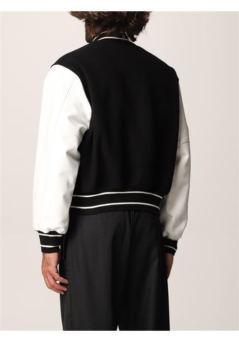 Bomber bianco e nero in lana e pelle di vitello con maniche a contrasto GIVENCHY   Giubbini   BM00QR611V004
