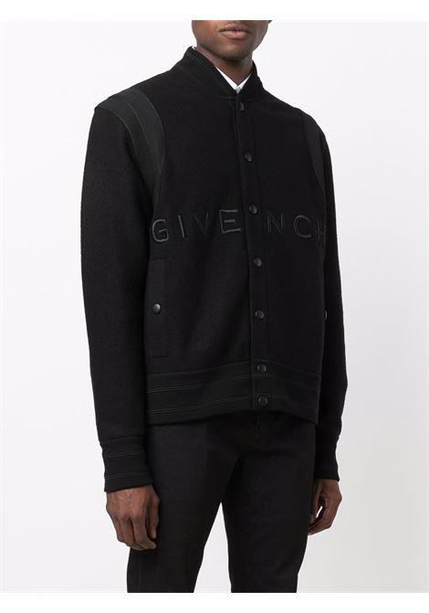 Bomber in lana nera con logo Givenchy ricamato GIVENCHY | Giubbini | BM00R64Y82001