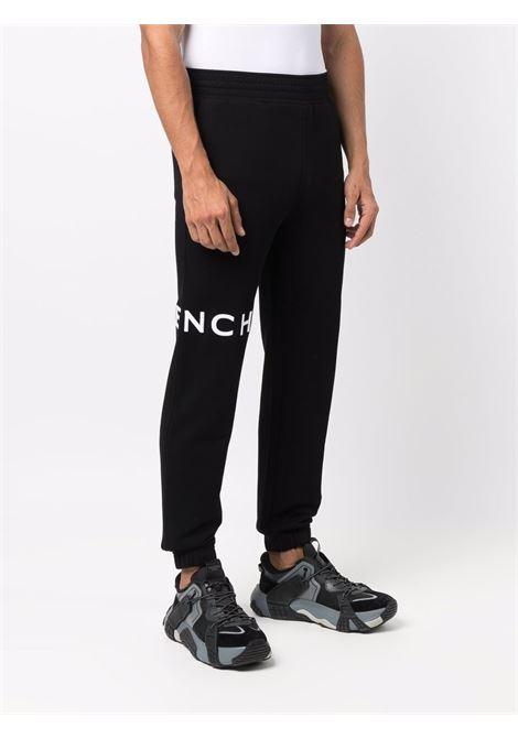 Pantaloni sportivi  in cotone nero con stampa logo Givenchy e 4G GIVENCHY | Pantaloni | BM50WB3Y6U001