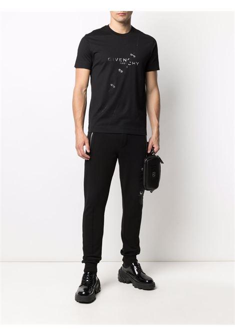T-shirt nera in cotone trompe l'oeil con stampa logo Givenchy GIVENCHY | T-shirt | BM713Y3Y6B001