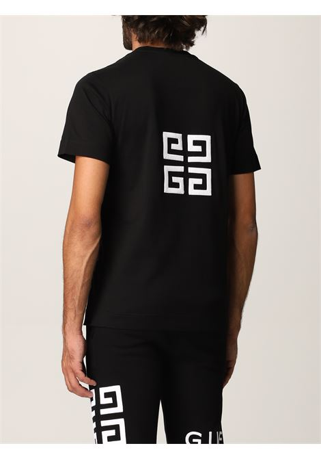 T-shirt nera con logo Givenchy floccato in cotone GIVENCHY   T-shirt   BM716B3Y6B001