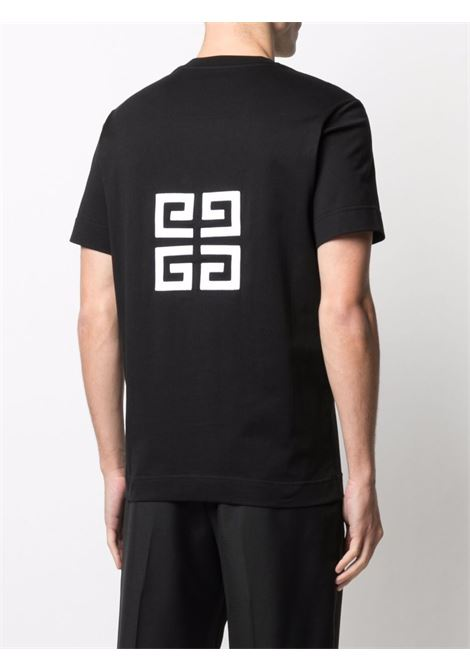 T-shirt nera con logo Givenchy floccato in cotone GIVENCHY | T-shirt | BM716B3Y6B001