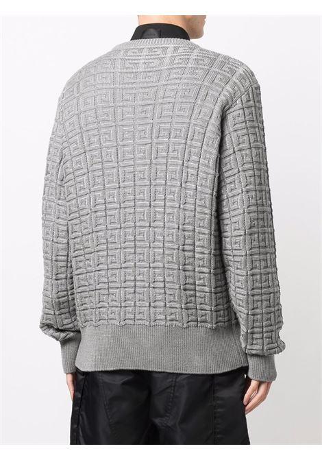 Maglia grigia in cotone con logo Givenchy jacquard all over GIVENCHY | Maglieria | BM90G64Y85067
