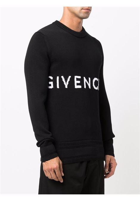 Maglione intarsiato in cotone nero con lavorazione a maglia GIVENCHY | Maglieria | BM90G9401M001