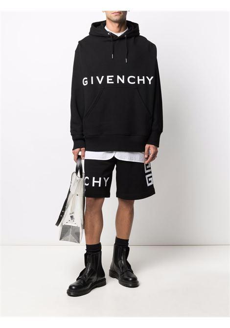 Felpa nera con cappuccio in cotone con logo Givenchy bianco sul petto GIVENCHY | Felpe | BMJ0C93Y69001