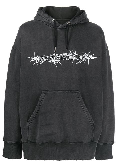 Felpa con cappuccio in cotone nero sbiadito con stampa Barbed Wire GIVENCHY | Felpe | BMJ0D53Y69001