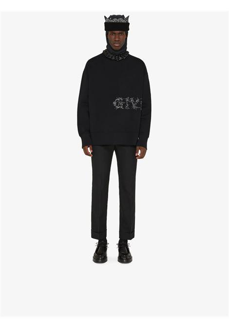 felpa nera con logo Givenchy in filo spinato GIVENCHY | Felpe | BMJ0DK3Y6V001
