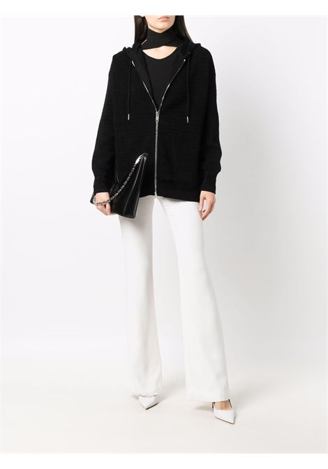 Felpa con cappuccio e zip frontale in cotone nero a maniche lunghe GIVENCHY | Felpe | BW00DF4ZAG001