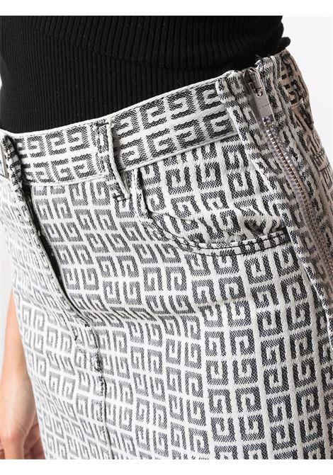 Minigonna bianca e nera in cotone in stampa monogramma 4G GIVENCHY | Gonne | BW40GW13N0004