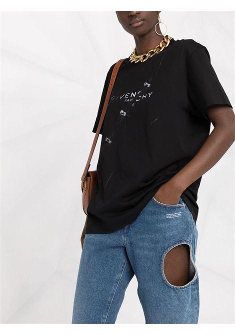 T-shirt nera in cotone e jersey con logo Givenchy GIVENCHY | T-shirt | BW707Z3Z51001