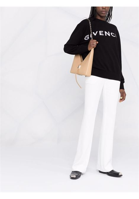 Maglia in cashmere nero con logo Givenchy a intarsio bianco GIVENCHY | Maglieria | BW90CU4Z9S004