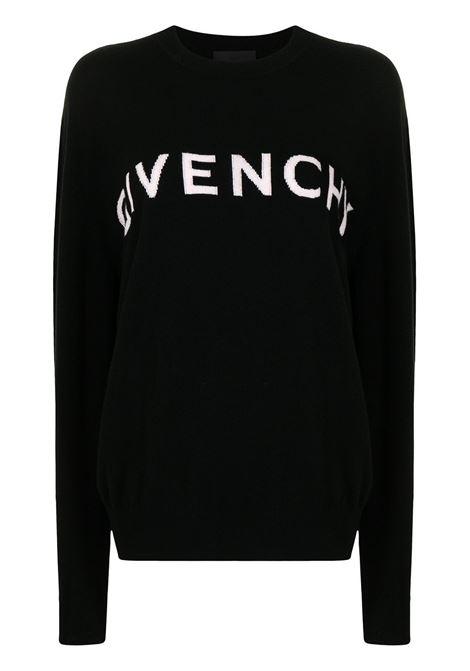 Maglia in cashmere nero con logo Givenchy a intarsio bianco GIVENCHY | Maglieria | BW90CU4Z9S024