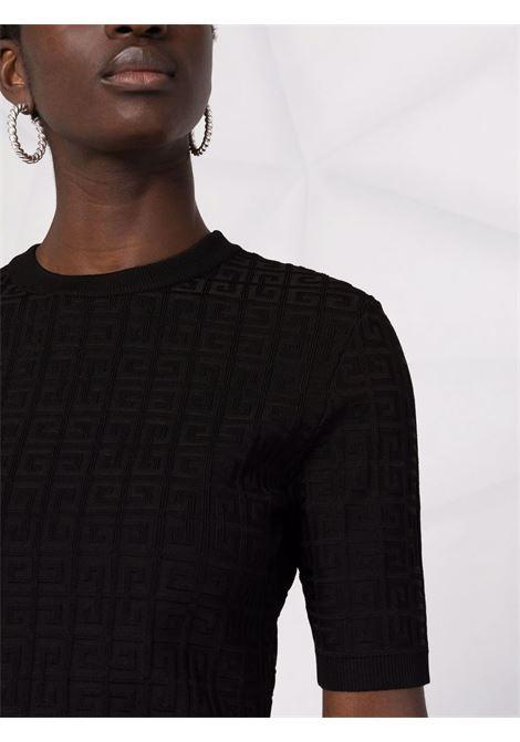 Top nero a maniche corte con motivo 4G in rilievo all-over GIVENCHY | Maglieria | BW90D24ZA4001