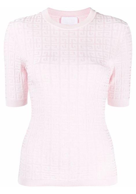 Top rosa a maniche corte con motivo 4G rilievo all-over GIVENCHY | Maglieria | BW90D24ZA4681