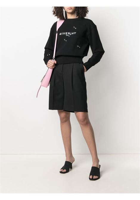 Felpa nera a maniche lunghe in cotone con stampa Givenchy GIVENCHY | Felpe | BWJ0213Z5H001