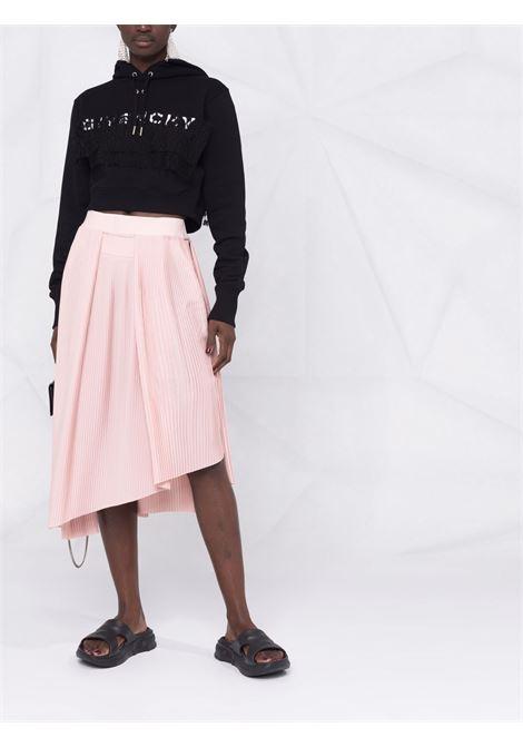 Felpa nera con cappuccio e coulisse in cotone con logo Givenchy GIVENCHY | Felpe | BWJ025G0SS001