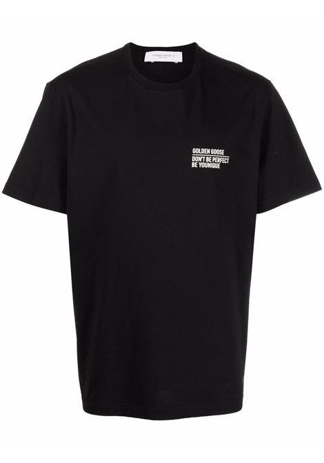 black cotton short-sleeved T-shirt featuring white Golden Goose logo GOLDEN GOOSE |  | GMP01005-P00018790290