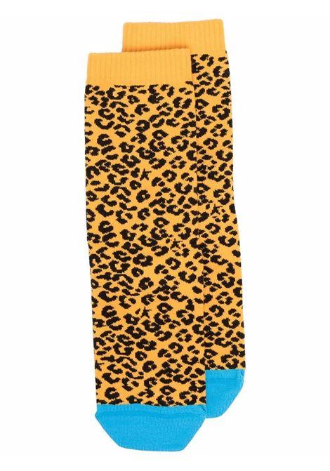 Calzini leopardati in cotone giallo con puntale blu a contrasto GOLDEN GOOSE | Calze | GUP00912-P00049381251