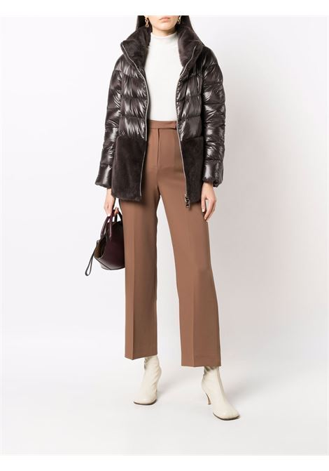 Brown panelled puffer jacket with faux-fur detail. HERNO |  | PI1123D-120178800
