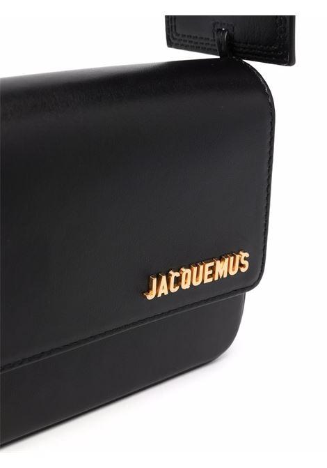 Borsa a tracolla Le Carinu in pelle nera con logo Jacquemus oro JACQUEMUS | Borse a tracolla | 213BA08-300990990