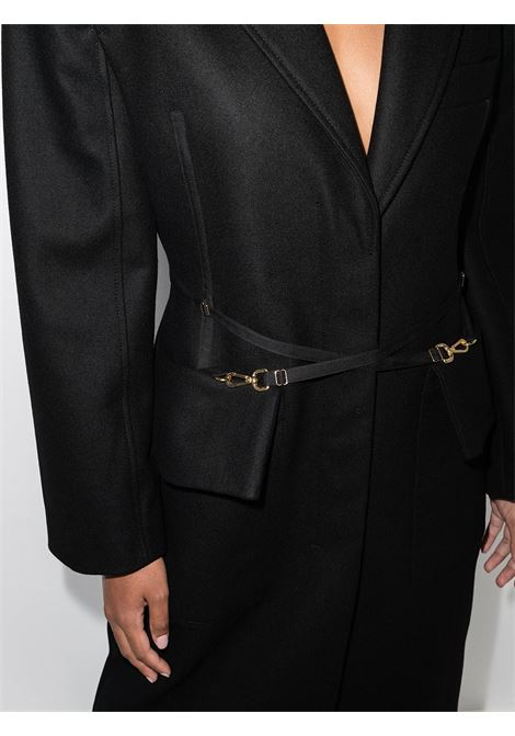 Black wool Soco Panno coat with black leather crossed belt  JACQUEMUS |  | 213CO05-130990990