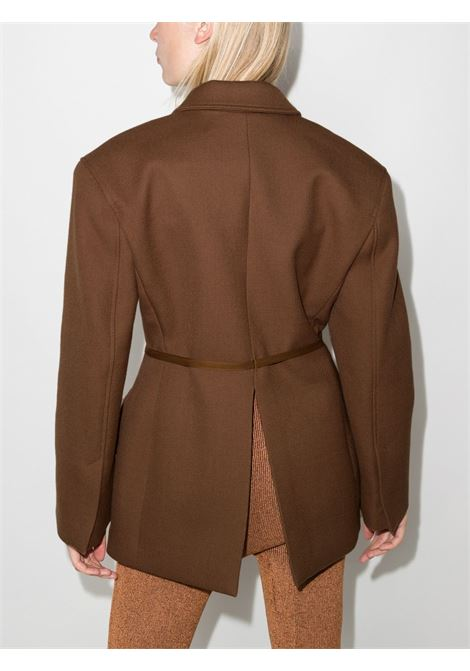 Brown Soco Lunga cotton jacket with brown leather crossed belt  JACQUEMUS |  | 213JA06-133850850