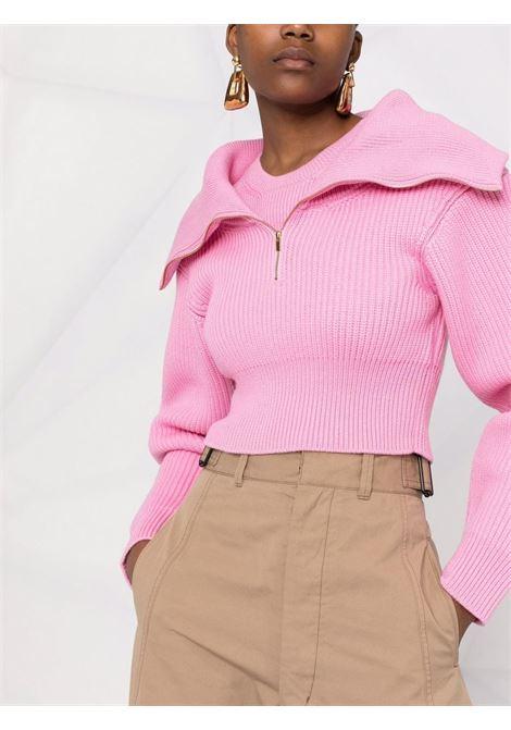Maglione corto a coste La Maille Risoul in lana rosa JACQUEMUS | Maglieria | 213KN51-220420410