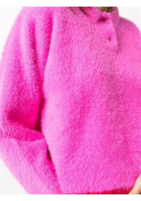 Maglione crop top Le Polo Neve in lana sherpa fuxia JACQUEMUS | Maglieria | 213KN61-239453430