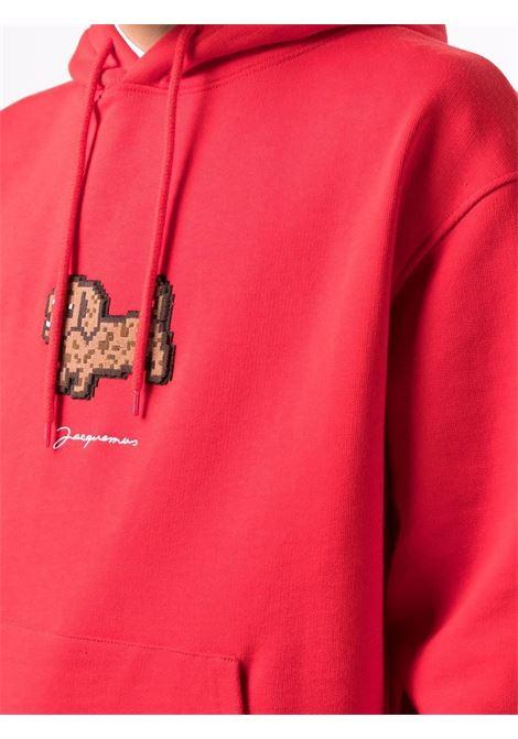 Felpa rossa  in cotone organico con logo Jacquemus ricamato JACQUEMUS | Felpe | 216JS21-212470470