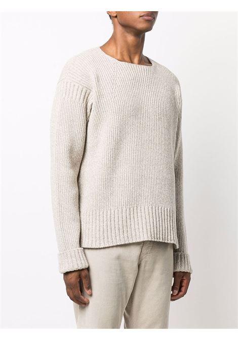 Maglia girocollo La Maille Baja in lana beige a costine JACQUEMUS | Maglieria | 216KN01-200130130