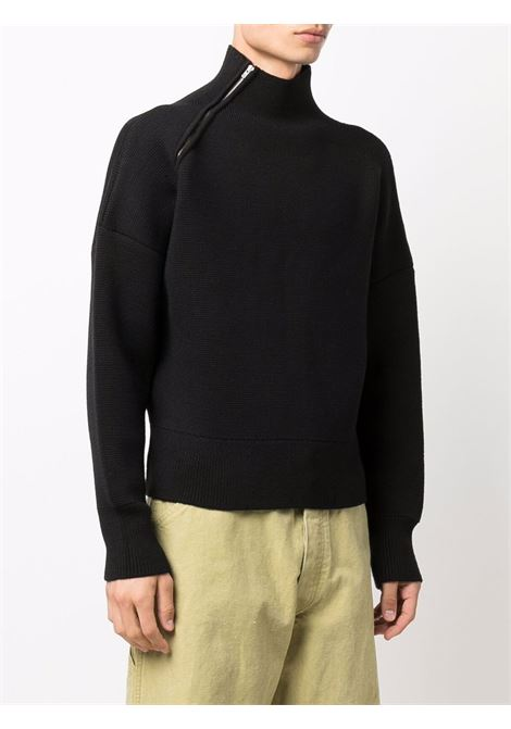 Maglione in lana nera La Maille Jannu a collo alto con zip sulla spalla JACQUEMUS | Maglieria | 216KN13-208991990