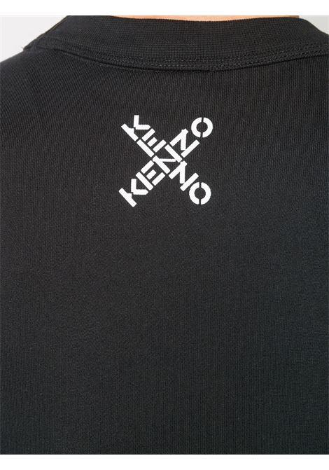 Felpa nera in cotone con logo lettering Kenzo incrociato bianco KENZO | Felpe | FA6-5SW521-4MS99