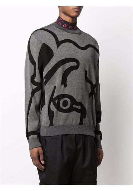 Felpa in cotone grigio e nero con stampa Tiger astratta KENZO | Maglieria | FB5-5PU586-3TC98