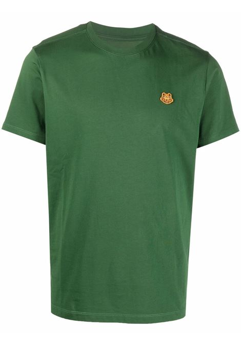 T-shirt in cotone verde in jersey con Tiger arancione ricamata KENZO | T-shirt | FB5-5TS003-4SA53