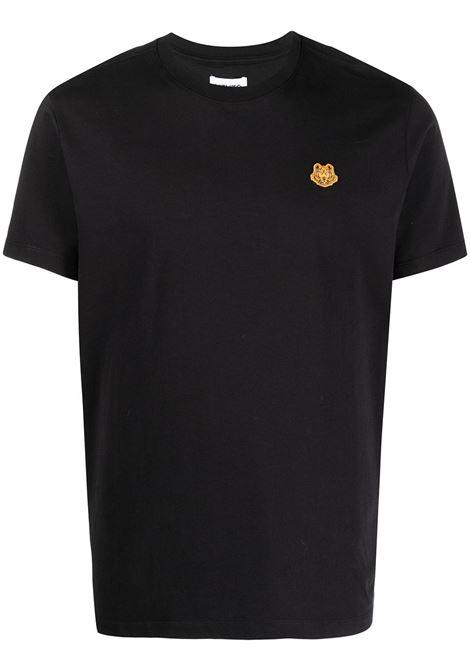 T-shirt nera in cotone con logo Tiger arancione KENZO | T-shirt | FB5-5TS003-4SA99