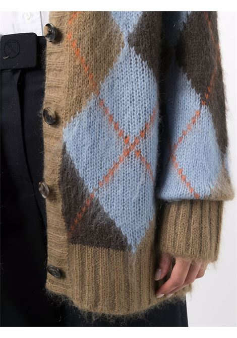 brown and sky blue oversized rgyle-knit cardigan KENZO |  | FB6-2CA610-3CC62