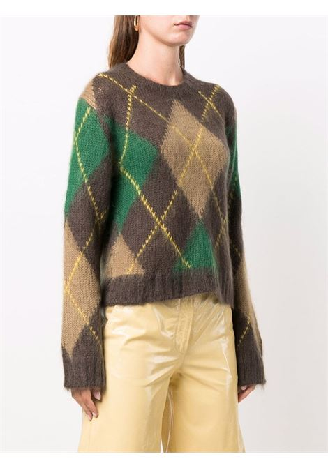 Brown mohair wool argyle-knit jumper featuring check pattern KENZO |  | FB6-2PU610-3CC90