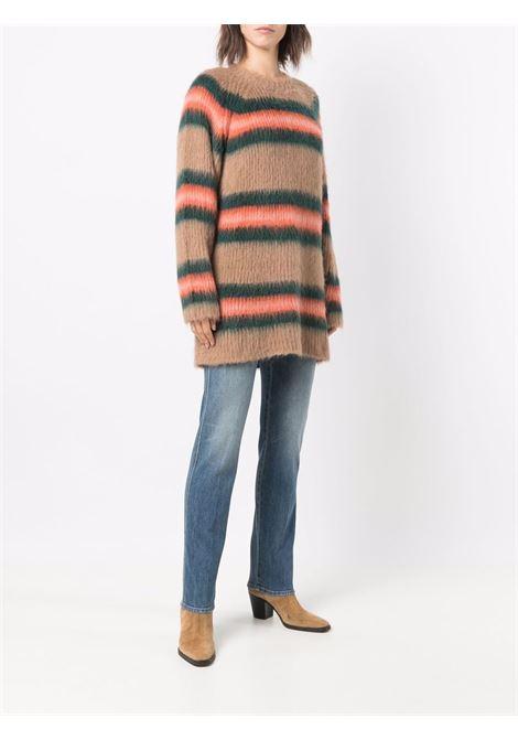 virgin wool brown and orange stripe print long jumper  KENZO |  | FB6-2RO615-3CH138