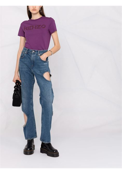 T-shirt viola in cotone con stampa logo lettering Kenzo nero KENZO | T-shirt | FB6-2TS841-4SA82