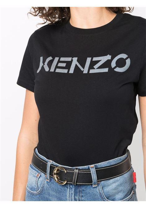 black cotton T-shirt featuring black Kenzo lettering logo print  KENZO |  | FB6-2TS841-4SA99