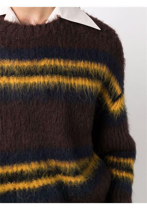 Maglione marrone in lana vergine e lana d'alpaca a righe gialle KENZO | Maglieria | FB6-5PU615-3CH90B