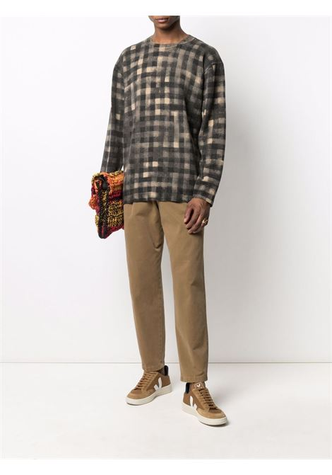 Maglione in lana a quadri marrone cognac e nero KENZO | Maglieria | FB6-5PU626-3CA88
