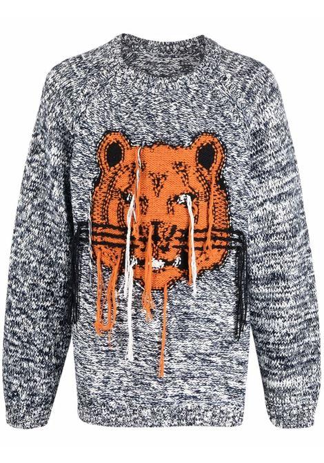 Maglione in cotone grigio con Tigre ricamata arancione KENZO | Maglieria | FB6-5PU632-3TD93
