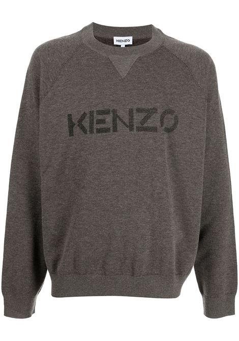 Maglione girocollo marrone in cotone e lana con stampa logo Kenzo KENZO | Maglieria | FB6-5PU633-3LB92