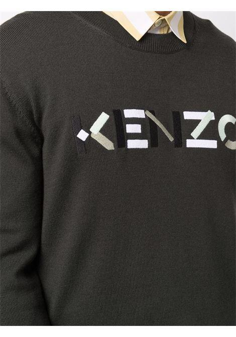 Maglia verde in lana con logo Kenzo con girocollo KENZO | Maglieria | FB6-5PU639-3LA97