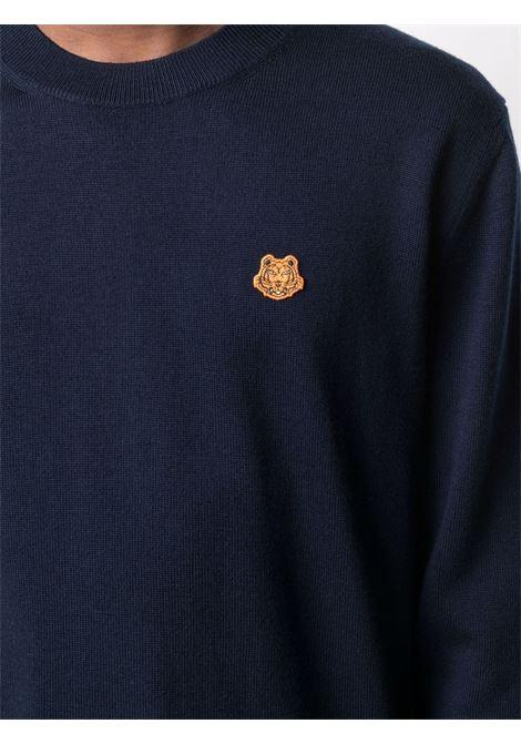 Maglione blu scuro con girocollo e patch Tiger arancione sul petto KENZO | Maglieria | FB6-5PU642-3TA79