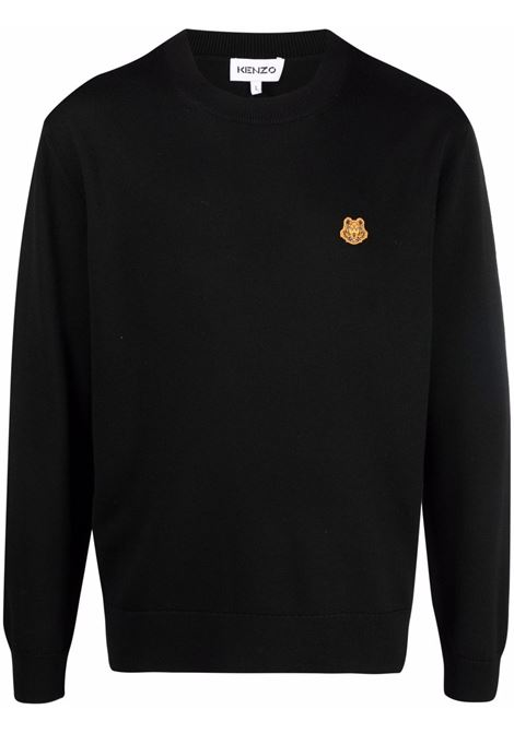 Maglione nero con girocollo e patch Tiger arancione sul petto KENZO | Maglieria | FB6-5PU642-3TA99